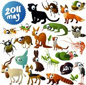 stock photo of jackal  - Big vector set of animals - JPG