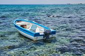 Fishing Boat On The Sea With Sunray, Hua-hin , Thailand poster