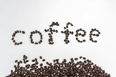 Aromatic Coffee Beans For Espresso Coffee To Keep The Body Energized On A White Isolate Background, poster