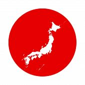Outline Of Map Of Japan In Red Circle - Flag Of Japan poster