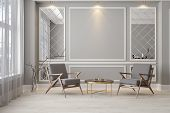 Classic Gray Modern Interior Empty Room With Lounge Armchairs, Table And Mirrors. 3d Render Illustra poster