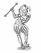 Black Outline Joker With Staff In Old Engraving Style Isolated On White poster