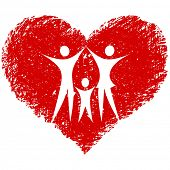 stock photo of hand heart  - family vector with hand drawn heart - JPG