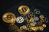 On A Dark Background In A Chaotic Manner Are The Clockworks And Coins Bitcoin poster