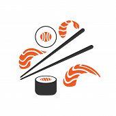 Sushi Set. Sushi, Rolls, Sticks. Japanese Cuisine. poster