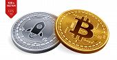 Bitcoin And Stellar. 3d Isometric Physical Coins. Digital Currency. Cryptocurrency. Silver Coin With poster