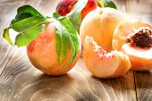 Juicy Peach - Delicious Peach In Healthy Diet (healthy Eating), Organic Peach poster