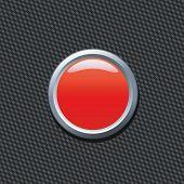 Постер, плакат: Пустой Красная кнопка на фоне углеродного волокна Напишите ваш собственный текст