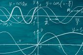 Trigonometry. School Chalkboard Function Graphs Math Lesson poster