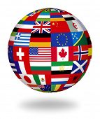 stock photo of longitude  - Floating globe covered with world flags - JPG