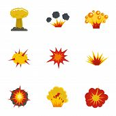 Explosion Effect Icons Set. Flat Set Of 9 Explosion Effect Vector Icons For Web Isolated On White Ba poster