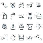Gardening Icons Set With Windmill, Gardener Tool, Leaf And Other Mill Elements. Isolated Vector Illu poster