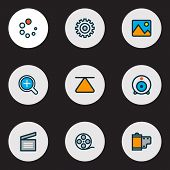 Media Icons Colored Line Set With Image, Movie Clap, Film Reel And Other Zoom In Elements. Isolated  poster