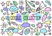 Outlined Vector Doodle Set In Pastel Color Palette. Funny Nursery Doodle Collection For Journaling O poster