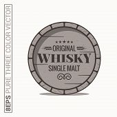 Whisky Barrel Logo. Single Malt Whiskey On White Background 8 Eps poster