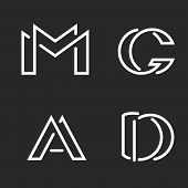 Set Logo M, D, A, G Letters Monograms Logos, Group Creative Linear Marks, Overlapping Black And Whit poster