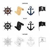 Pirate, Bandit, Rudder, Flag .pirates Set Collection Icons In Cartoon, Black, Outline Style Vector S poster