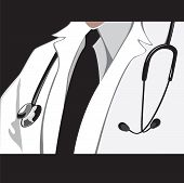 Doctor ambulance surgeon, first aid. Vector illustration.