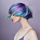 Portrait Of A Woman With Bright Colored Flying Hair, All Shades Of Purple. Hair Coloring, Beautiful poster