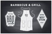 Barbecue, Grill Set. Poster Bbq Diagram And Scheme - Barbecue Grill Tools. Set Of Bbq Stuff, Apron,  poster
