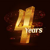 4 Years Golden Anniversary 3d Logo Celebration With Gold Glittering Spiral Star Dust Trail Sparkling poster