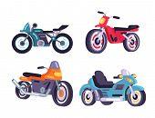 Motorbikes Set Stylish Motor Transport Items Models Design, Motorcycles Realistic Cartoon Vector Ill poster