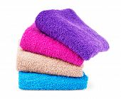 Multicolored Towels On A White Background Tourist, Resort, Health, Spa, No, People, Clean, Towels poster