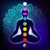 Meditating Human In Lotus Pose. Yoga Illustration. Colorful 9 Chakras And Aura Glow. Mandala Backgro poster
