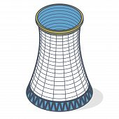 Vector Cooling Tower Of Power Plant. Outlined Concrete Thermal Power Plant Tower In Isometric Perspe poster