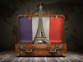 Trip to Paris. Travel or tourism to France concept. Eiffel tower and vintage suitcase with flag of F poster