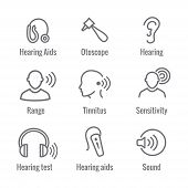 Hearing Aid Or Loss With Sound Wave Images Icon Set poster