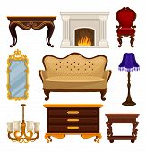 Set Of Vintage Furniture. Antique Sofa And Chair, Classic Fireplace, Wooden Table And Wooden Nightst poster