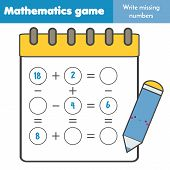Math Educational Game For Children. Write Missing Numbers And Complete Equations. Study Subtraction  poster