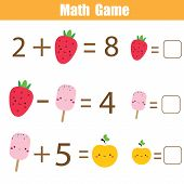 Math Educational Game For Children. Complete Equations. Study Subtraction And Addition. Mathematics  poster