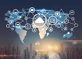 World Map Futuristic Interface Database Cloud Security Network Icon Data Privacy Connection Concept  poster