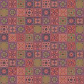 Square Vector Indian Ornaments Contrasting Terracotta Maroon Brown Tiles Mosaic Flowers Folk Homemad poster