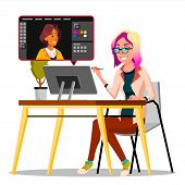 Photographer Retouching Photo Vector. Woman Working With Graphic Software. Freelance Concept. Illust poster