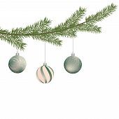 Realistic Vector Christmas Tree Branch And Balls. Pine Tree Branch With Christmas Balls. Silver And  poster