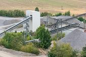 Mining Quarry With Machinery. Belt Conveyors And Mining Equipment In A Quarry. Stone Quarry With Sil poster