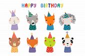 Set Of Cute Funny Animals In Party Hats Bear, Panda, Bunny, Wolf, Frog, Fox, Hedgehog, Squirrel. Iso poster