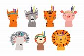 Set Of Cute Funny Little Tribal Animals Lion, Tiger, Wolf, Sloth, Hedgehog, Pig, Squirrel. Isolated  poster