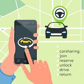 Car Sharing Service Concept. Carsharing Renting Car Mobile App. Hands Phone  Logo Template Rental Ca poster