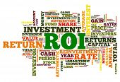 ROI - return of investment concept in word tag cloud on white background