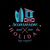 Surfing Holiday Logo Original Estd 1969, Design Element Can Be Used For Surf Club, Shop, T Shirt Pri poster