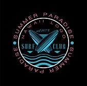 Summer Paradise Hawaii Logo, Surf Club Est 1978, Creative Badge Can Be Used For Surf Club, Shop, T S poster