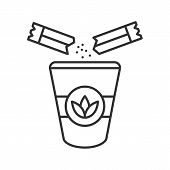 Adding Sugar To Tea Linear Icon. Thin Line Illustration. Disposable Tea Cup With Sugar Sachets. Cont poster
