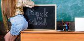 Student Teacher Mini Skirt Sexy Buttocks Sit Table Blackboard Inscription Back To School. Girl Denim poster
