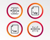Archive File Icons. Compressed Zipped Document Signs. Data Compression Symbols. Infographic Design B poster