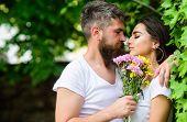 Gentle Kiss. Man Bearded Hipster Hugs Gorgeous Girlfriend. Couple Love Romantic Date Nature Park Bac poster