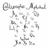 Alphabet. Handwritten Lettering Vector Font Alphabet. Hand Drawn Vector Tribal Style Latin Alphabet. poster